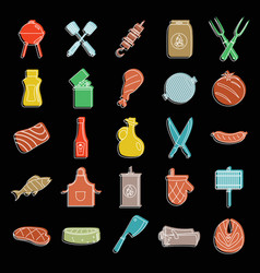 barbecue grill and food set doodle vector image