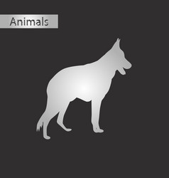 black and white style icon of german shepherd vector image vector image