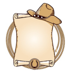 Cowboy hat and lasso American vector image