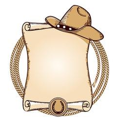 Cowboy hat and lasso American vector image vector image