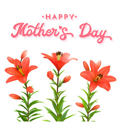 floral greeting card for mothers day red lilies vector image vector image