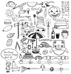 new hand drawn vintage set vector image vector image