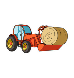 Orange tractor with a ladle transporting hay bale vector
