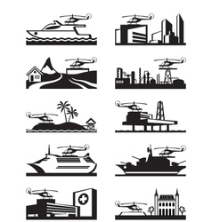 Platforms for take off and landing of helicopter vector image