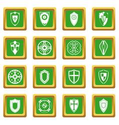 Shields set icons set green vector