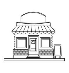 store market business shop building outline vector image vector image