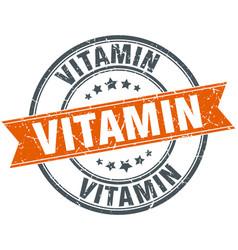 vitamin round grunge ribbon stamp vector image
