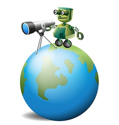 A robot with a telescope above the globe vector