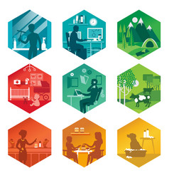 A set icons with different everyday scenes vector