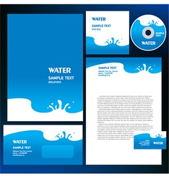 Abstract creative corporate identity blue water vector