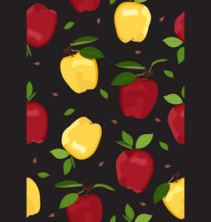 Apple seamless pattern on black background red vector