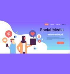 arabic couple social media icons concept online vector image