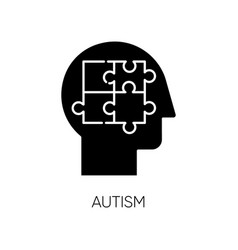 Autism glyph icon puzzled mind neurology and vector