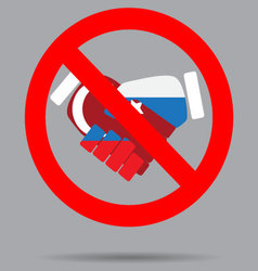 Ban sign cooperation turkey and russia vector image