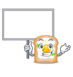 Bring board cartoon eggs sandwich in for breakfast vector