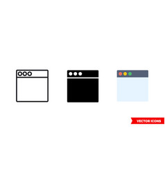 browser icon 3 types isolated sign vector image
