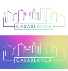 Casablanca skyline colorful linear style vector