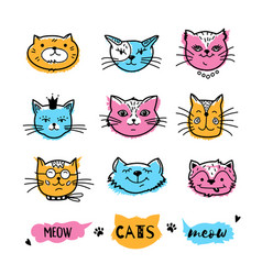 Cats faces cat doodle hand drawn cats icons vector
