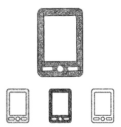 Cellphone icon set - sketch line art vector image