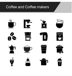 coffee and coffee makers icons design for coffee vector image