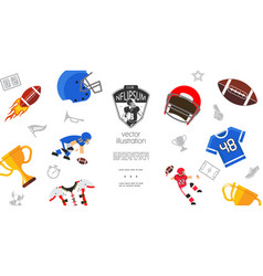 colorful american football elements template vector image