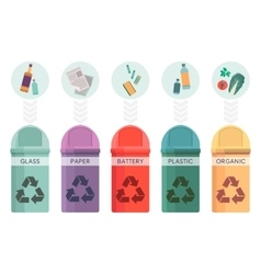 Colorful collection of garbage bins Recycle vector