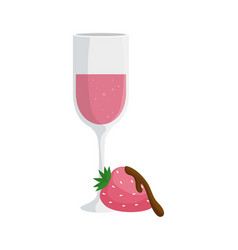 cup champagne with strawberry isolated icon vector image