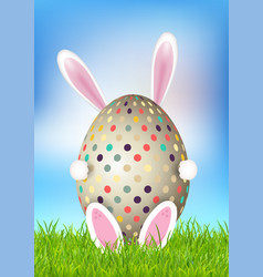 cute easter background with bunny holding egg vector image
