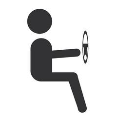 driver silhouette avatar icon vector image