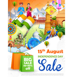 Famous indian monument and landmark for 15th vector