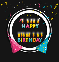 frame birthday with hats and candles vector image