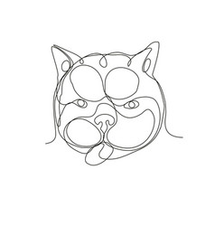 French bulldog head continuous line vector