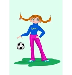 Girl in sportswear with soccer ball vector