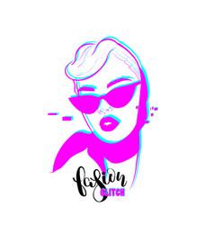 glitch woman fashion portrait pop art design vector image