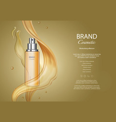 Golden spray bottle cosmetic hair oil ads vector
