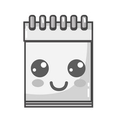 Grayscale kawaii cute happy notebook tool vector