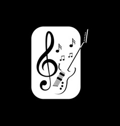Guitar music logo vector