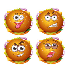 hamburgers with four different expressions vector image
