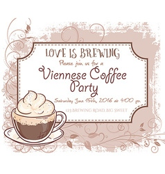 Hand drawn viennese coffee party invitation card vector