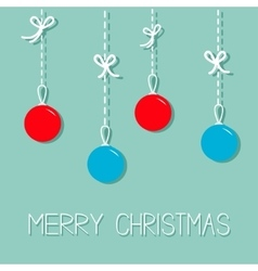 Hanging christmas balls Blue and red Dash line vector image