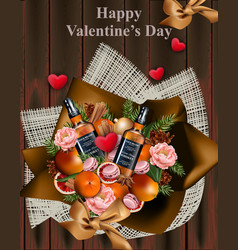 happy valentine day whiskey and decorations on vector image