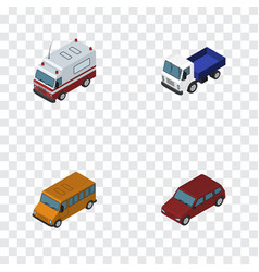 Isometric transport set of lorry car autobus and vector