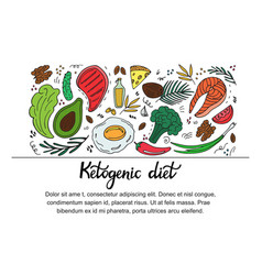 Ketogenic diet horizontal banner in hand drawn vector