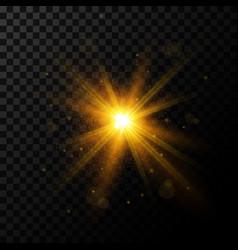 Light burst golden light with sparkles vector