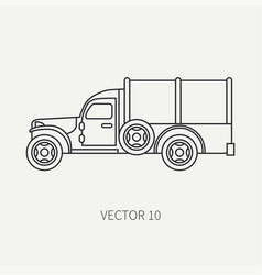 Line flat plain icon tarpaulin wagon army vector