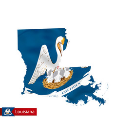 Louisiana state map with waving flag us state vector