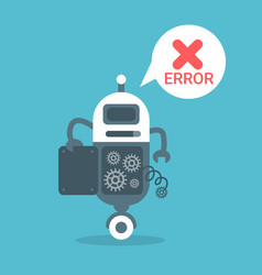 Modern robot error message artificial intelligence vector