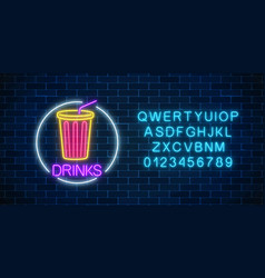 neon glowing sign of cold soda drink in circle vector image