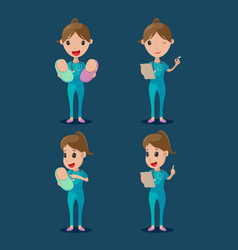 nurse cartoon character collection set vector image vector image