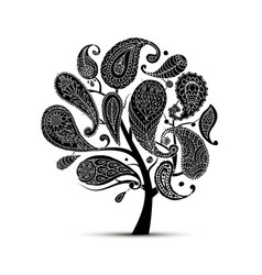 Paisley ornament art tree sketch for your design vector